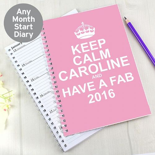 Personalised Keep Calm Pink A5 Diary
